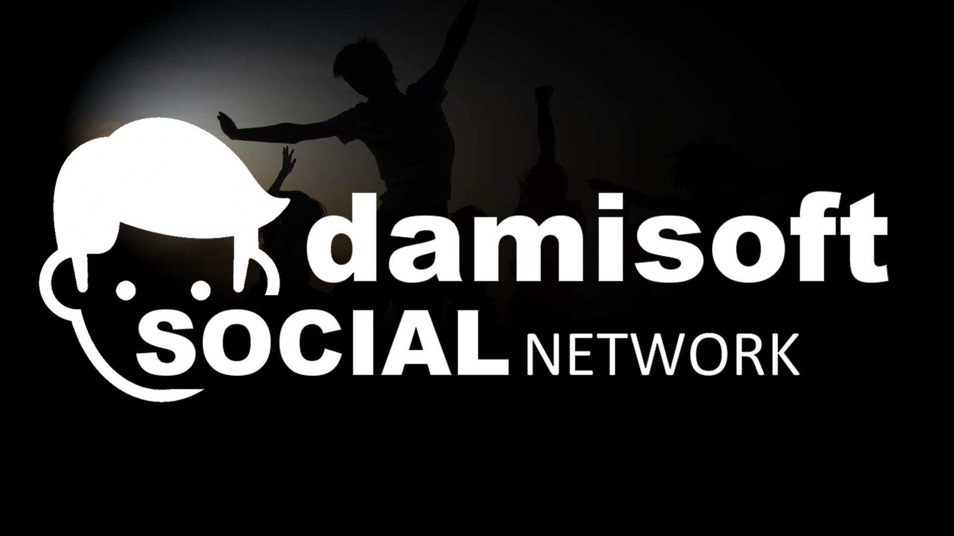 Damisoft Social Network grosses Bild mit DSN Logo Weiss auf Schwarz