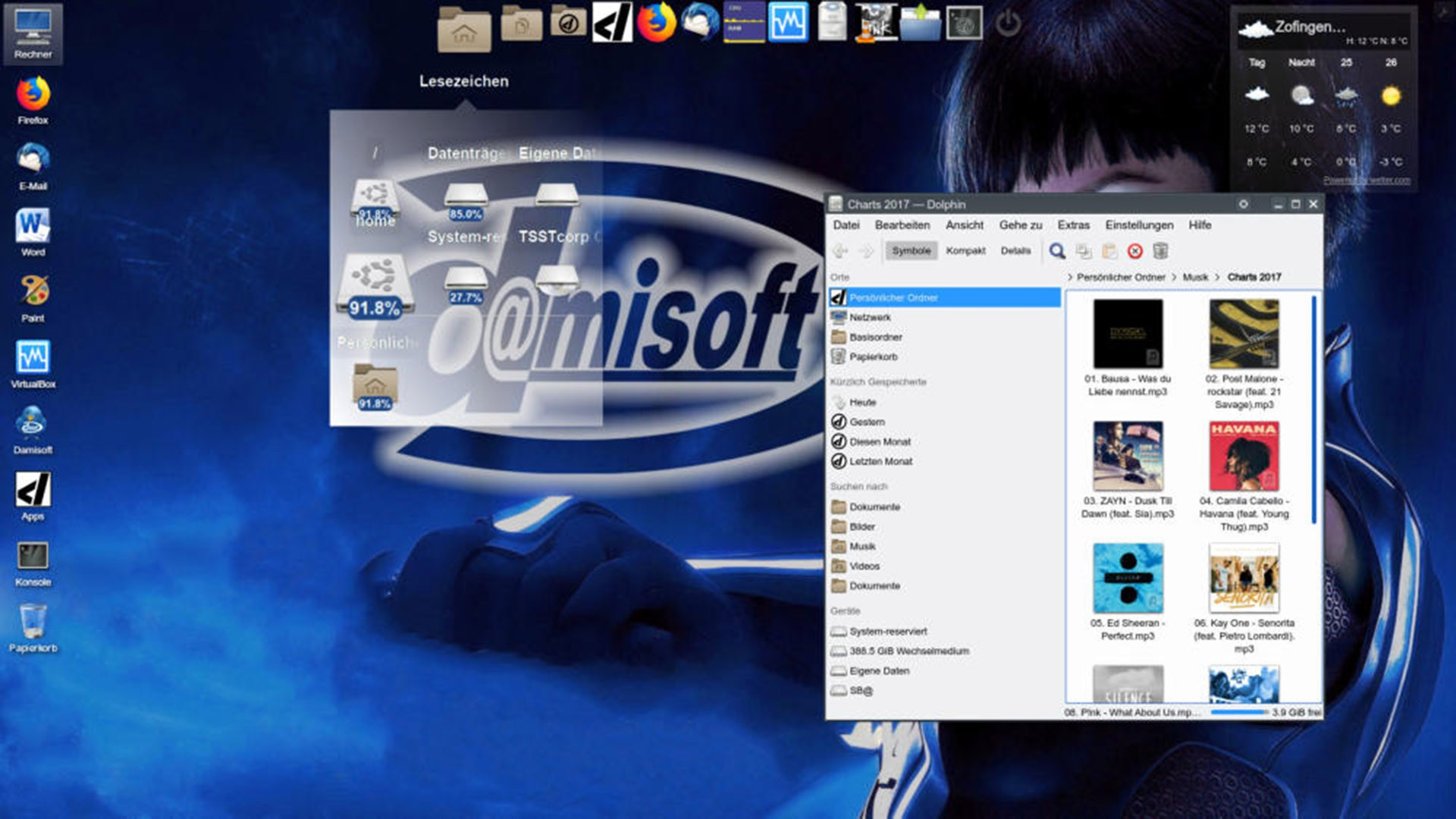 Desktop Damisoft OS 18 Screen KDE Disk usage