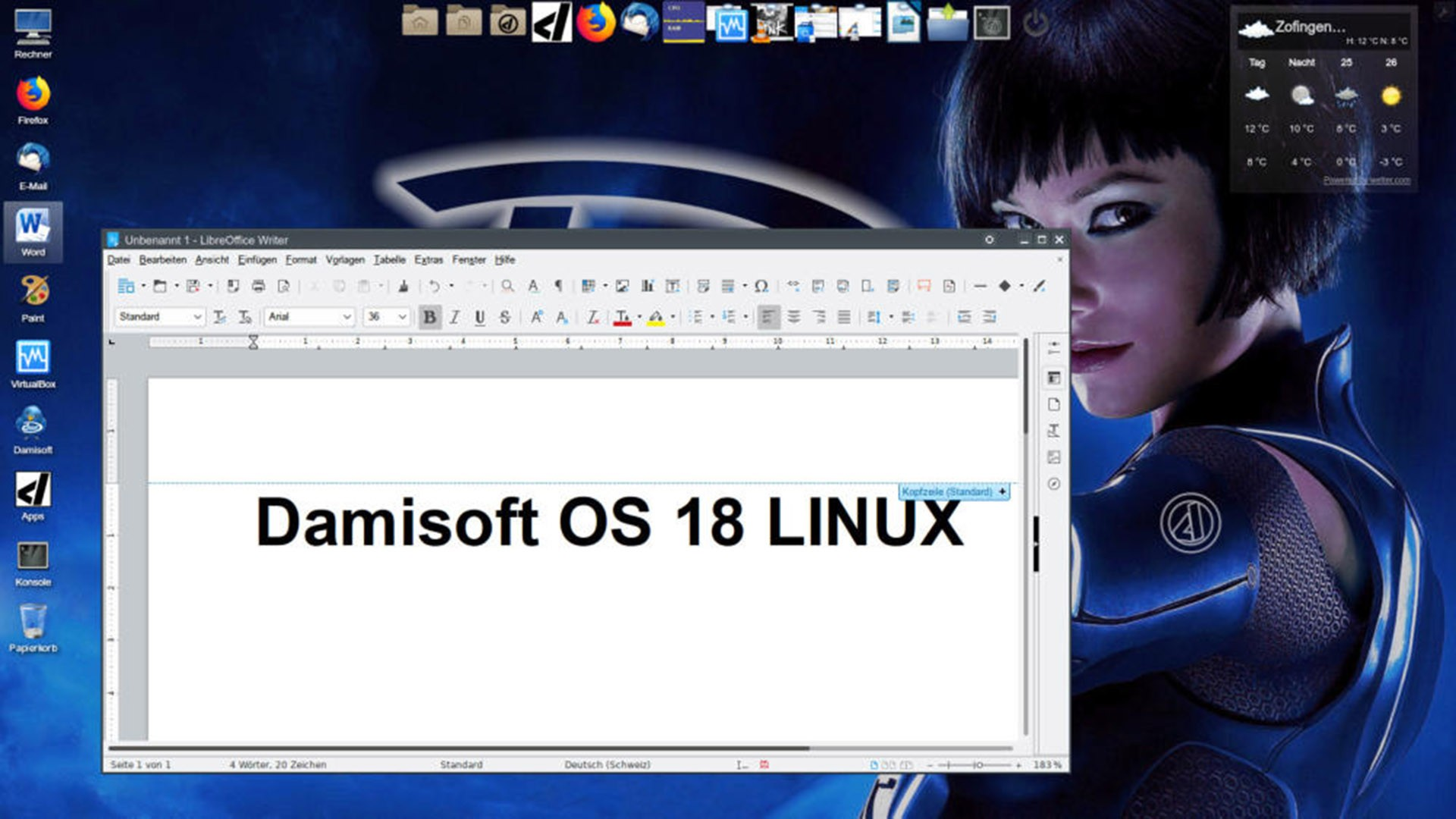 Damisoft OS 18 Linux Desktop Word Libre Office