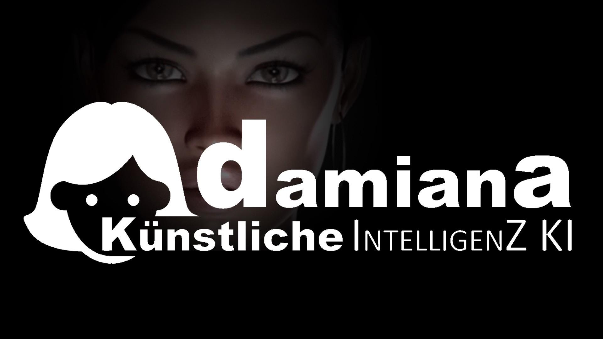 Damiana Künstliche Intelligenz KI oder AI Logo Damisoft Weiss auf Schwarz in einem Bild
