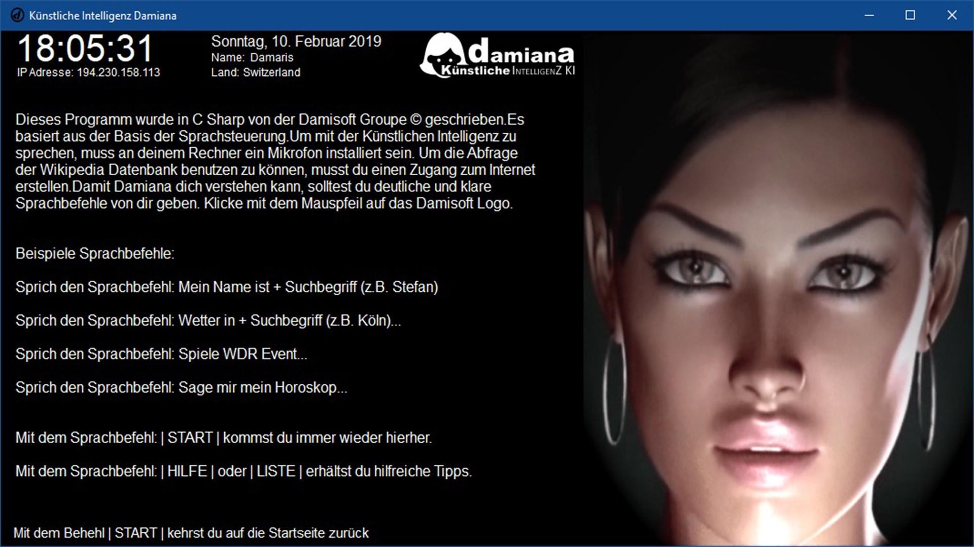 damiana künstliche intelligenz ki damisoft app programm frau bild c sharp anwendung beispiel